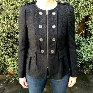 ZARA M Black Military Gold Button Lined Zip Jacket